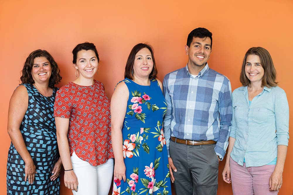 Members of the ALMA team. Left to right: India Ornelas, Daron Ryan, Gigi Perez, Francisco Rios Casas, Serena Maurer. Not pictured: Gino Aisenberg, Gary Chan, Cynthia Price, Deepa Rao and Anh Tran.