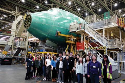 DEOHS students touring the Boeing Everett plant with SPH alumni.